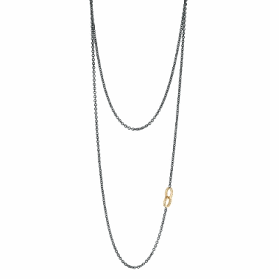 Yellow Gold and Graduating White Diamond Crescent Necklace