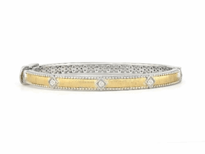 Old World oxidized sterling silver and 18k yellow gold lacy bangle bracelet with round Blue Turquoise/Rainbow Moonstone doublet, white diamonds and white sapphires. Diamond Weight 0.03ct