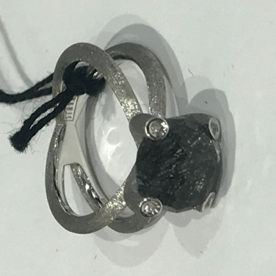 Blackened sterling silver bangle with 1.7mm champagne diamonds. Diamond Weight 2 ct.