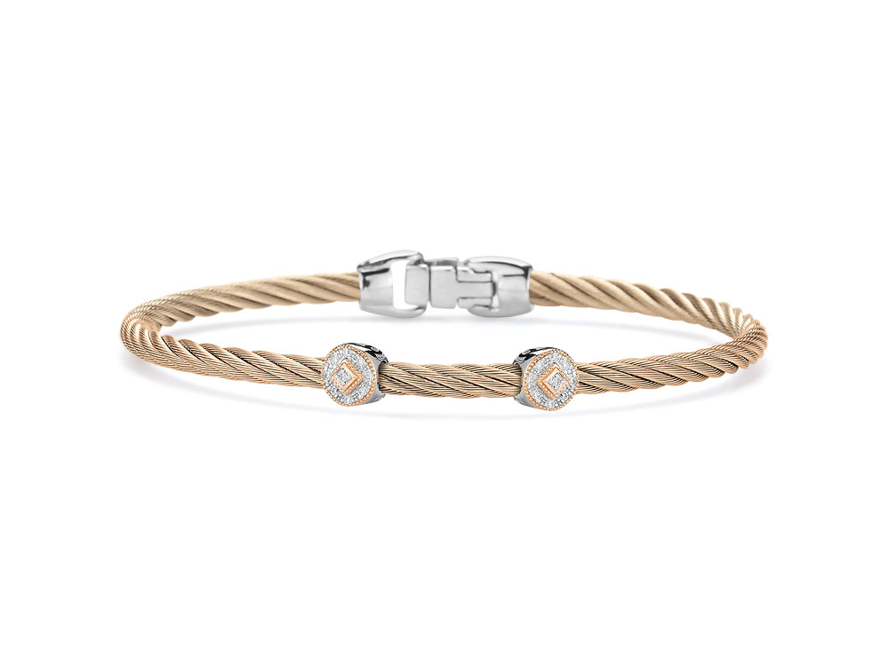 Carnation Two Circled Station Bangle