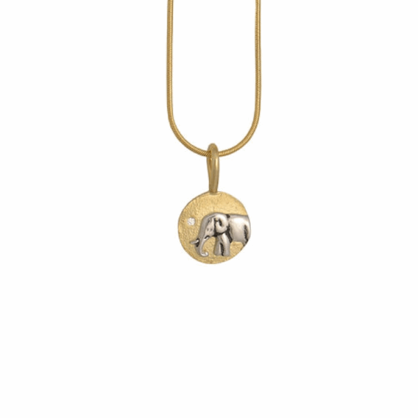 Closeup photo of Mother star elephant pendant