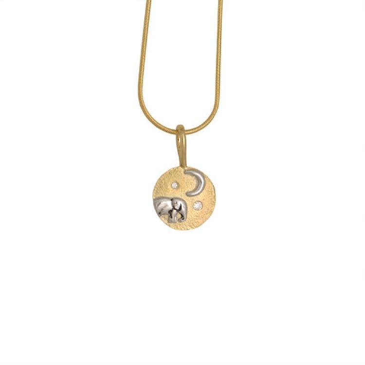 Elephant baby and moon pendant