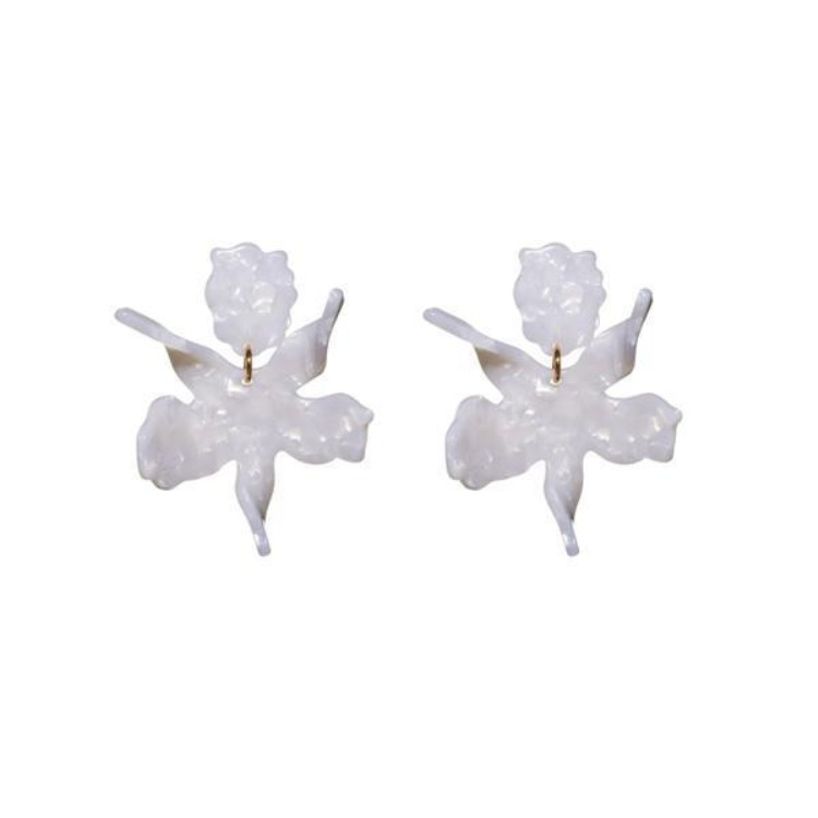 Small Paper Lily Earrings - Mother Of Pearl