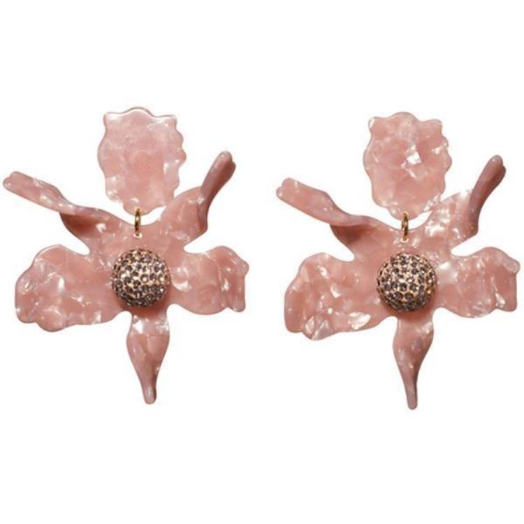 Crystal Lily Earrings- Peach