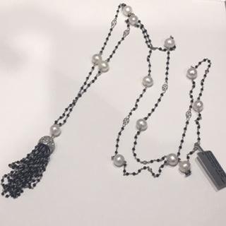 Grey cable with black Stingray, 18 karat White Gold, 0.62     total carat weight Diamonds and stainless steel. Imported. - 04-32-R052-11
