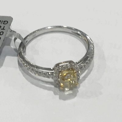 Yellow cable 1 row, 18 karat White Gold, 0.17     total carat weight Diamonds and stainless steel. Imported. - 02-37-S701-11