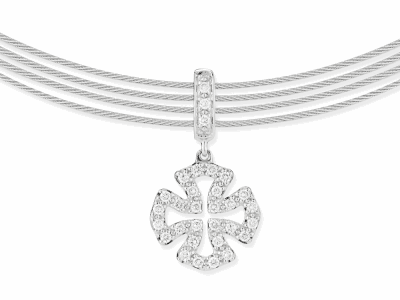 Gray cable, 18kt. White Gold, 0.26total carat weight. Diamonds and stainless steel, 13″ length with 2″ extender. Imported.