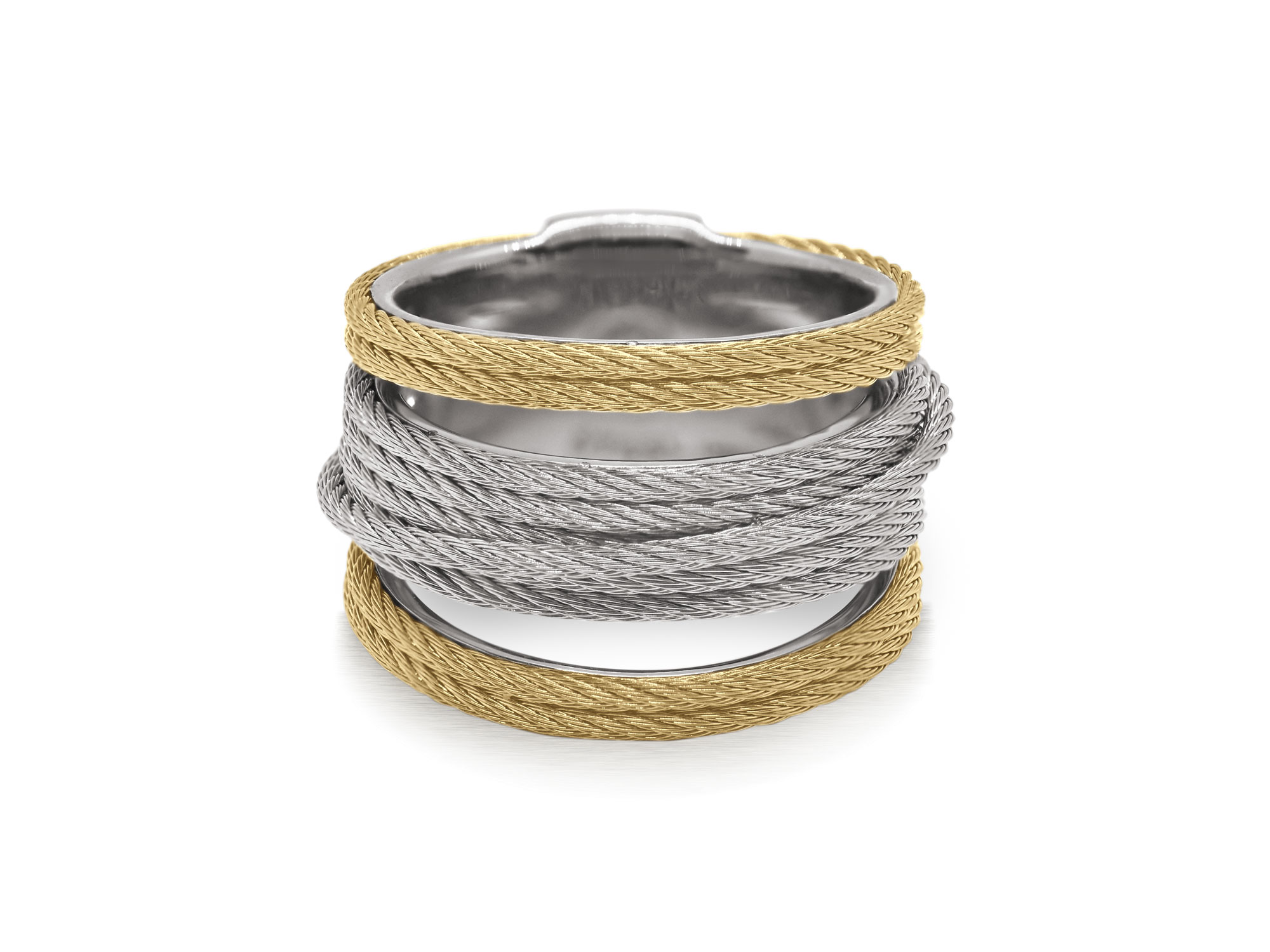 Grey and yellow cable with stainless steel. Imported. SKU: 02-43-S423-00