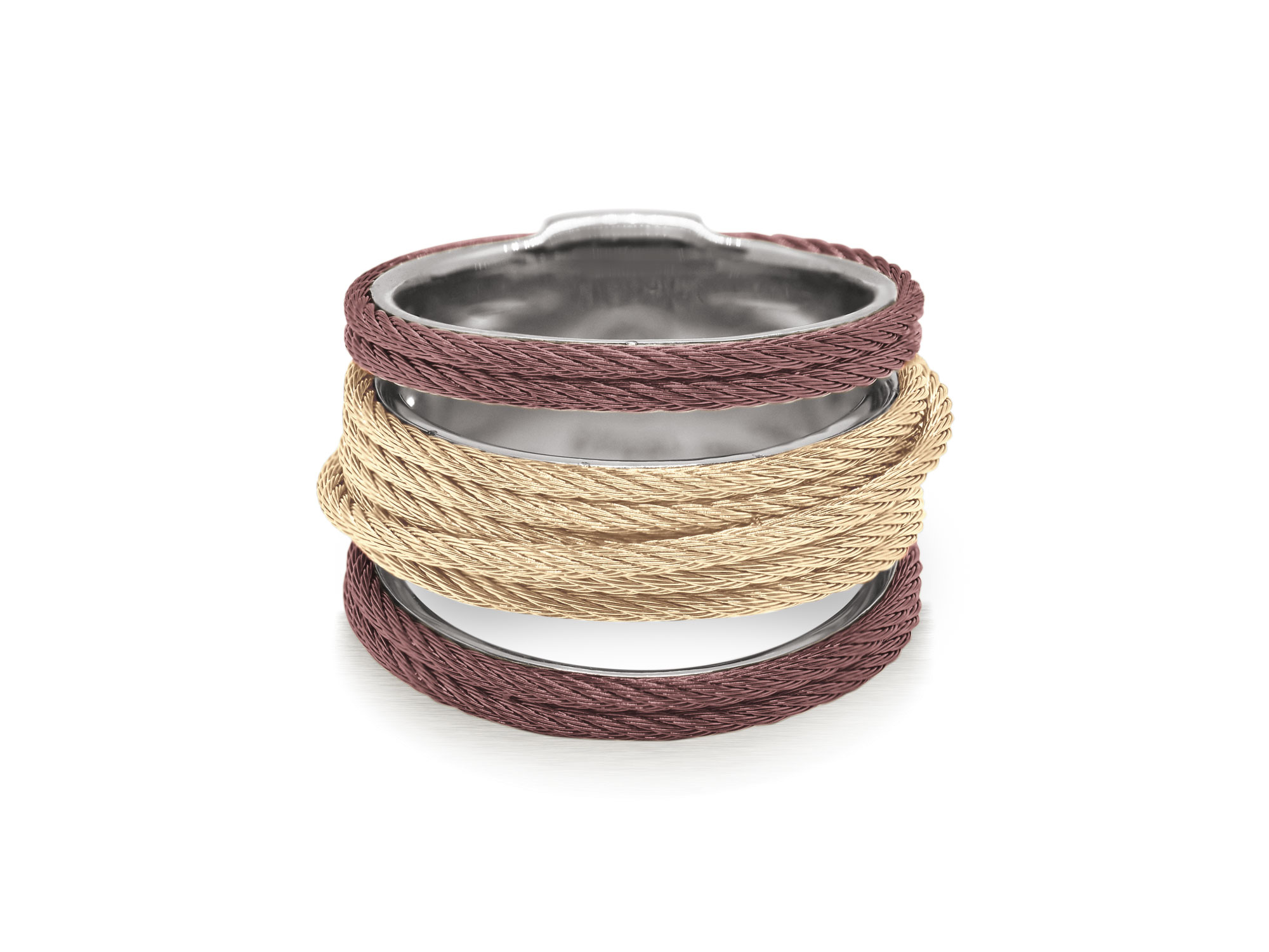 Carnation and burgundy cable with stainless steel. Imported. SKU: 02-29-S423-00