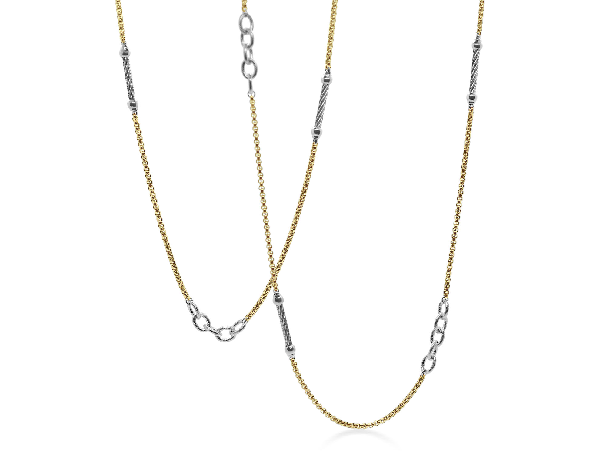 Grey and Yellow stainless steel chain necklace, necklace length 36″. Imported. SKU: 08-43-0064-00