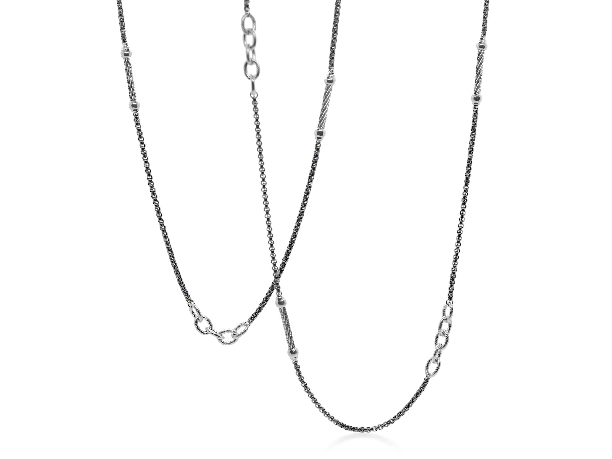 Grey and Black stainless steel chain necklace, necklace length 36″. Imported. SKU: 08-54-0064-00