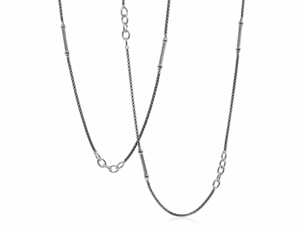 Closeup photo of Noir Chain Reaction Black Steel Ball and Open Link Necklace