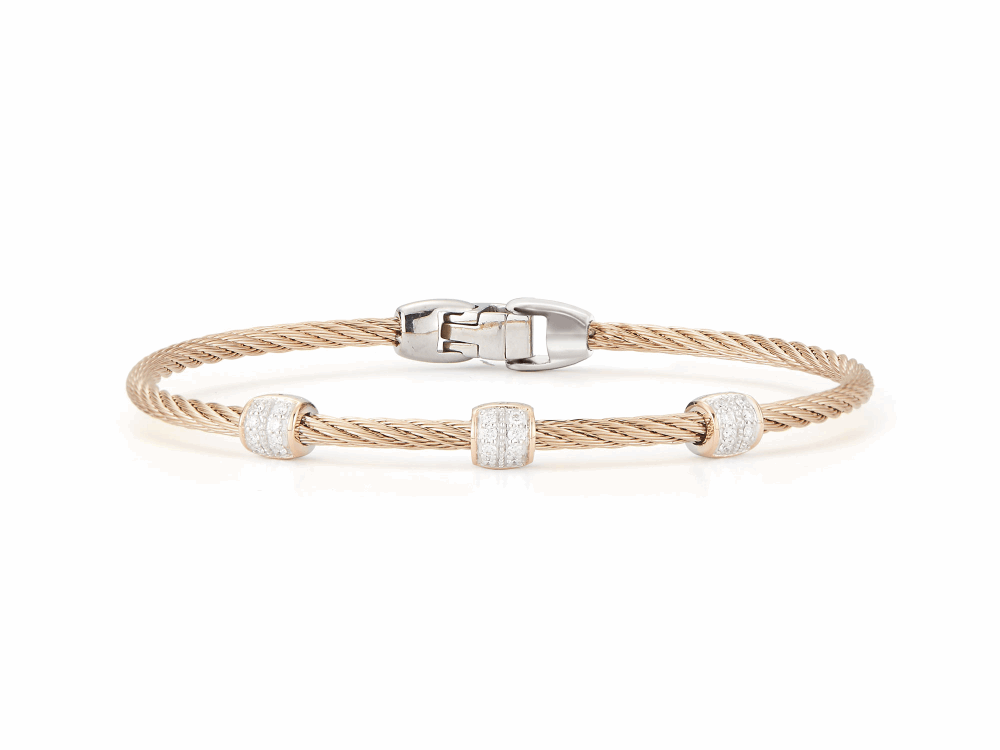 ALOR Classique Carnation Single Cable Bangle with Three Rose Gold and Diamond Stations - ALOR