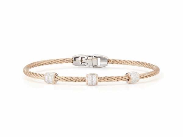 Closeup photo of ALOR Classique Carnation Single Cable Bangle with Three Rose Gold and Diamond Stations - ALOR