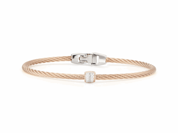 Closeup photo of ALOR Classique Carnation Single Cable Bangle with Rose Gold and Diamond Station - ALOR