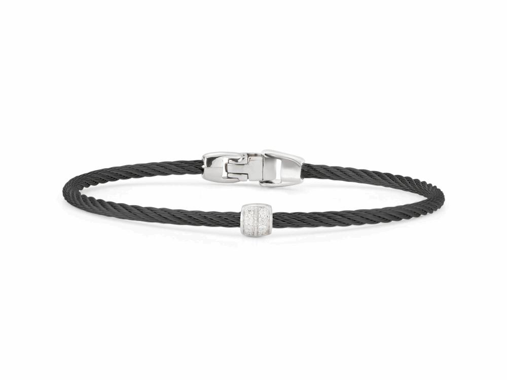 ALOR Noir Black Cable Bracelet with Diamond Bead - ALOR