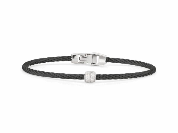 Closeup photo of ALOR Noir Black Cable Bracelet with Diamond Bead - ALOR