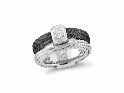 7 Band Combo Polvere Di Sogni Ring. Sterling Silver with an 18K Rose Gold Vermeil. Ring Includes butterfly sizing tines along interior of the ring for easy sizing