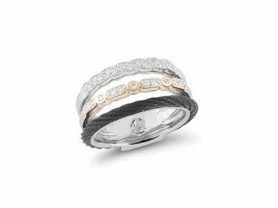 7 Band Combo Polvere Ring Di Sogni Ring. Sterling Silver with an 18K Rose Gold Vermeil. Ring Includes butterfly sizing tines along interior of the ring for easy sizing.