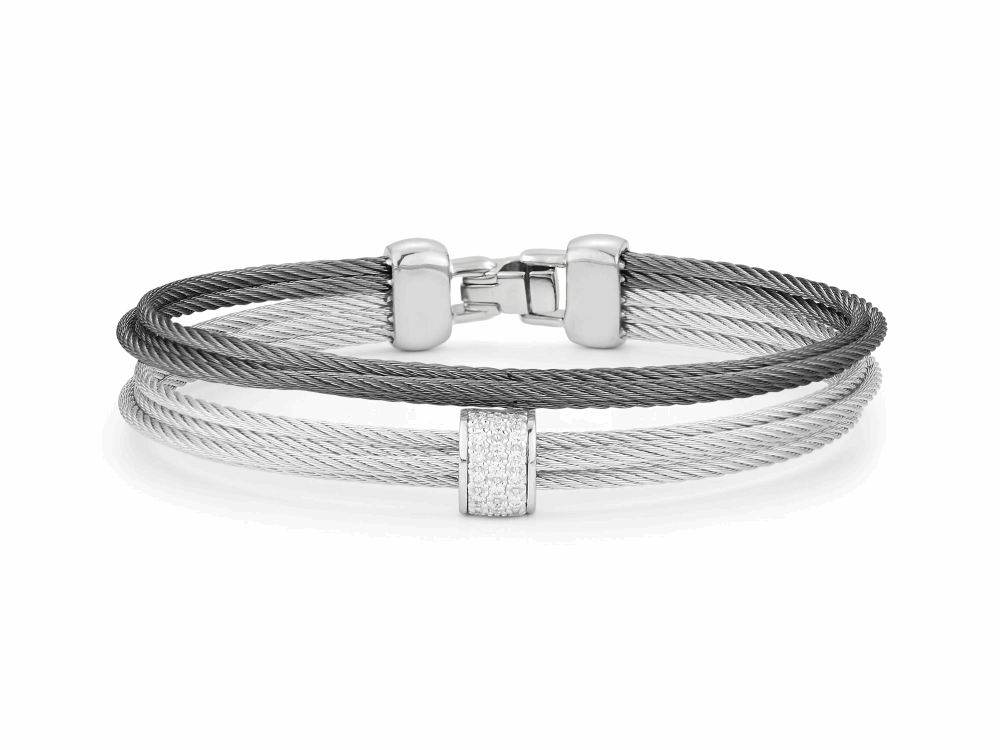ALOR Classique Grey and Steel Grey Multi-Strand Stacked Cable Bangle with Center White Gold and Diamond Station - ALOR