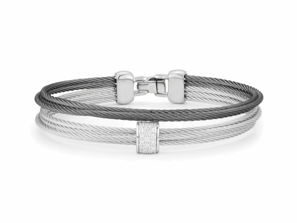 Closeup photo of ALOR Classique Grey and Steel Grey Multi-Strand Stacked Cable Bangle with Center White Gold and Diamond Station - ALOR