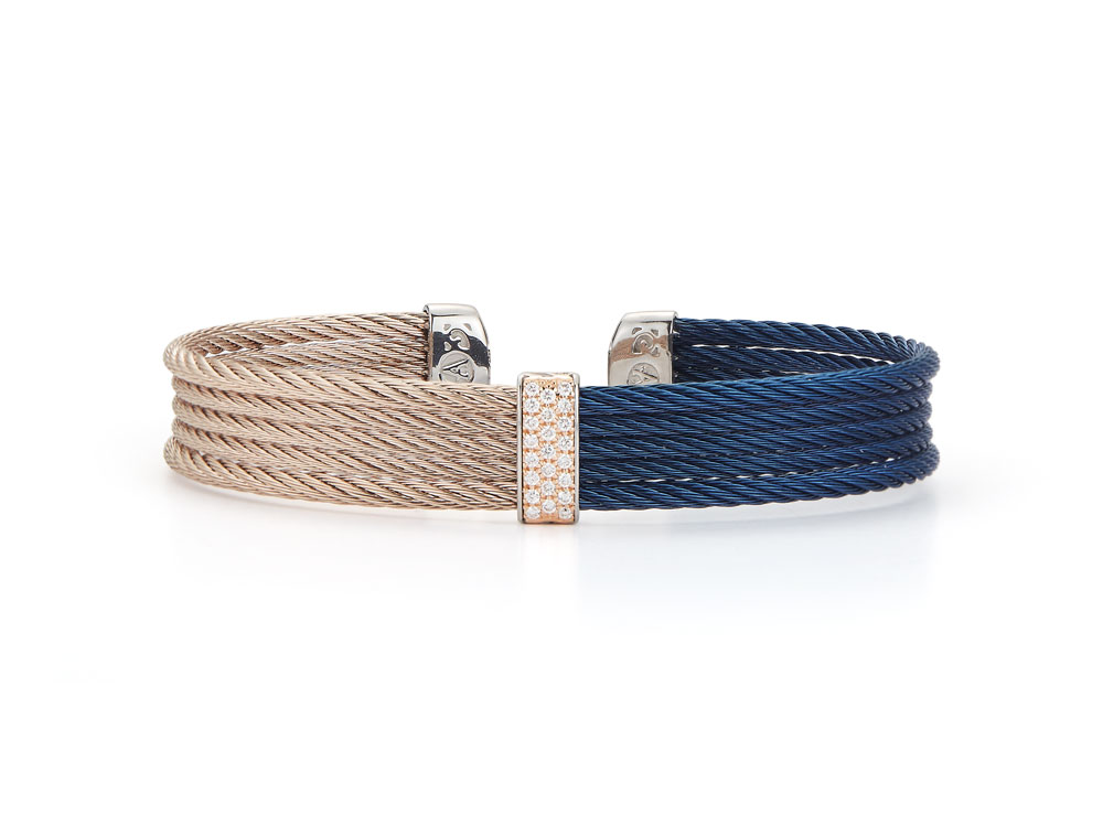 Fresh Finds Blueberry Carnation Half and Half Wrap Bracelet with Diamond Center Accent - ALOR