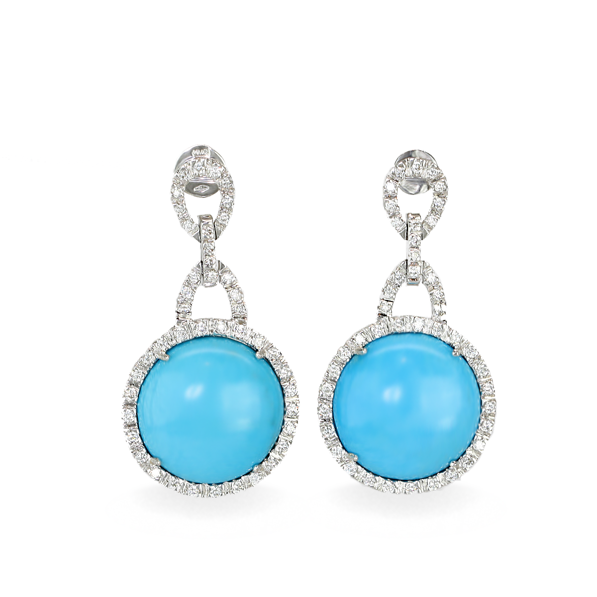Turquoise Diamond And Gold Earrings By Lanae Fine Jewelry
