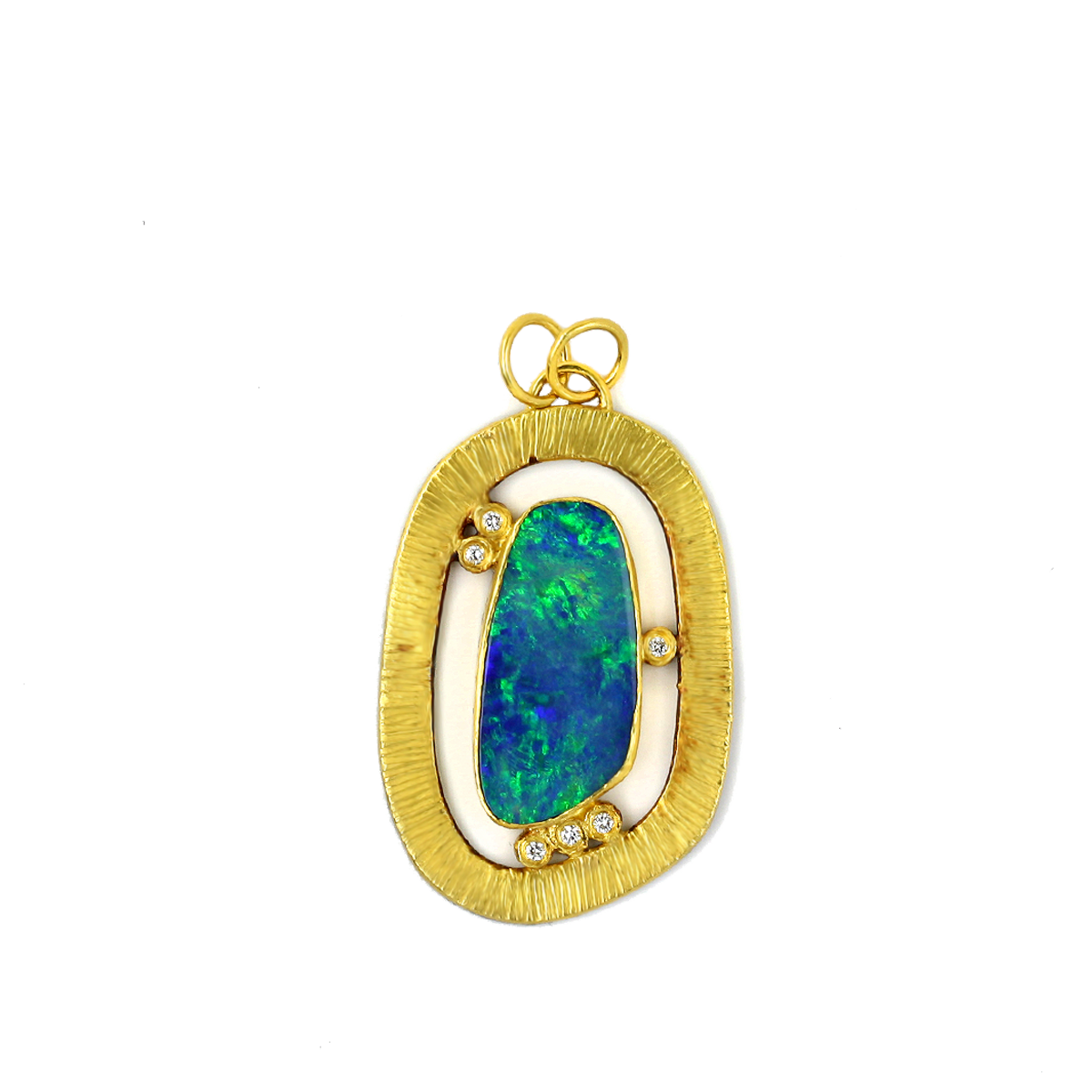 opal chrysoberyl diamond fire gallery pendant with