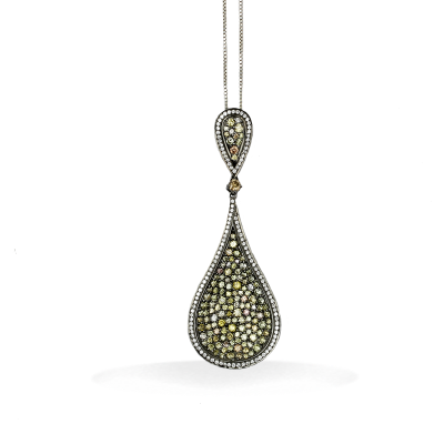 A stunning handpicked 18K Rodium Pendant With Yellow Diamonds by designer LaNae