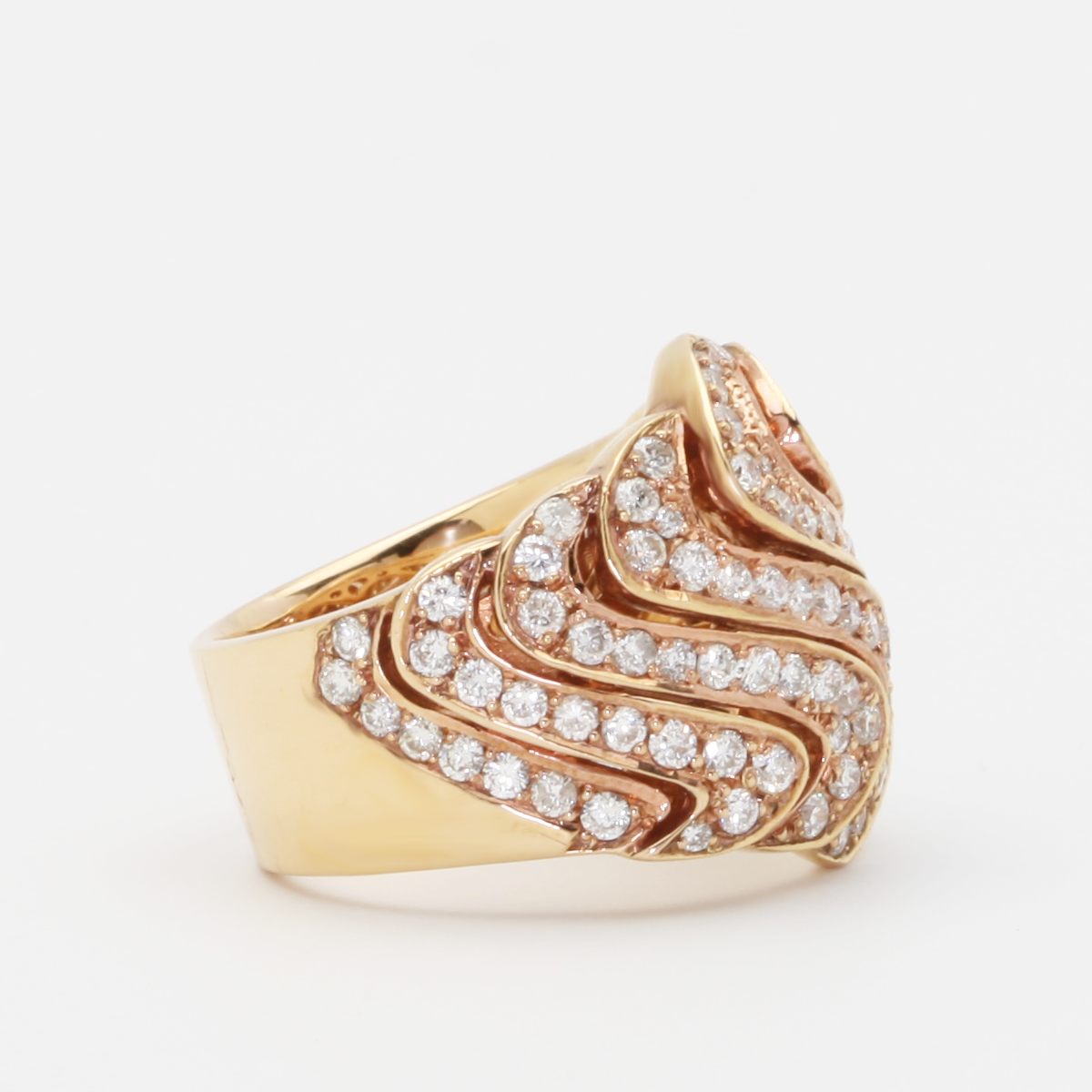 18K Pave Rose Gold And Diamond Swirl Ring - alternate