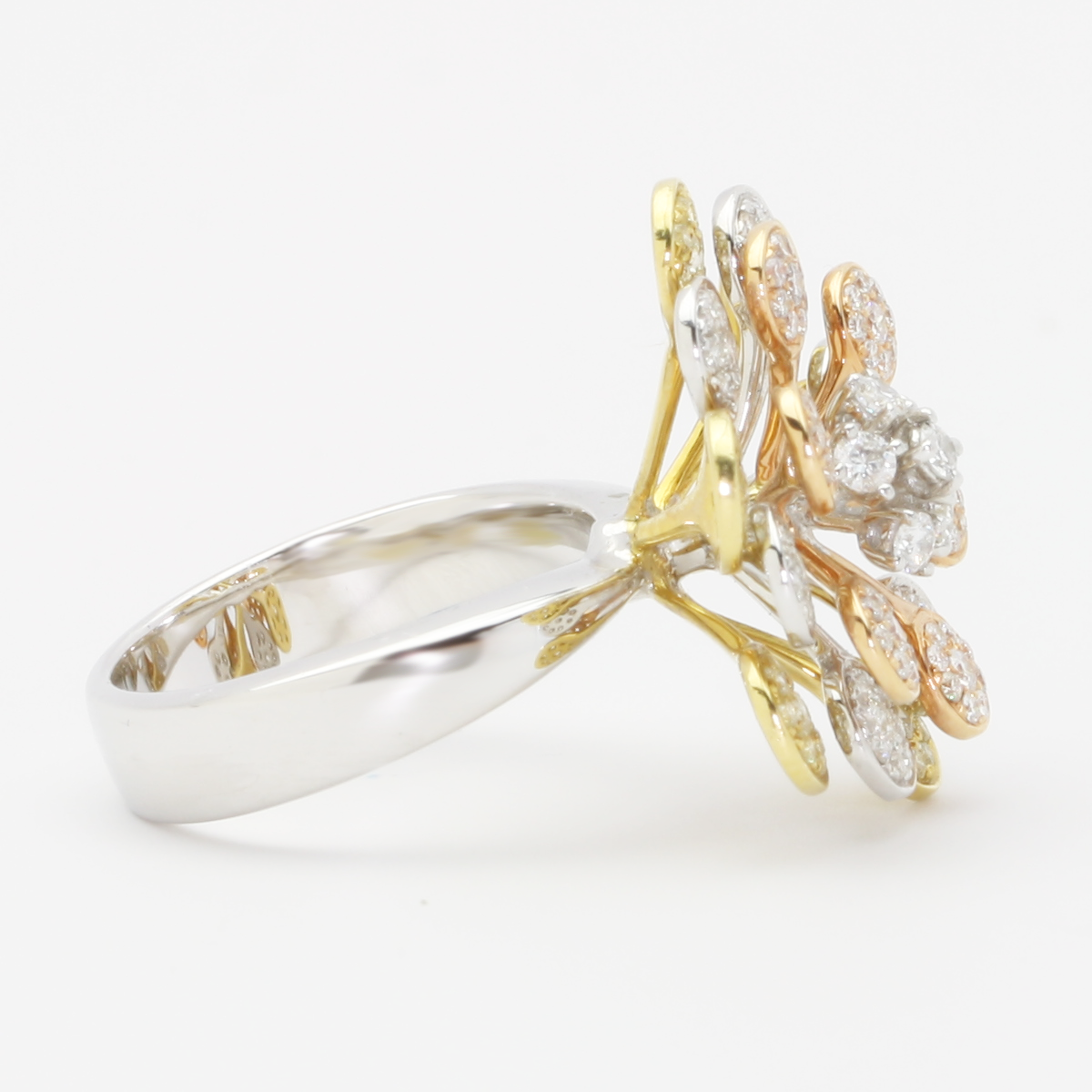 3 Tier Yellow White Rose Gold And Diamond Flower Ring By Lanae