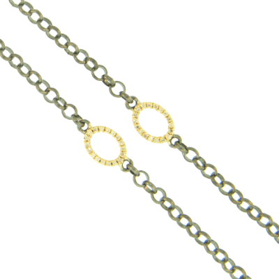 "26"" - Two Yellow Gold and Champagne Diamond Stations on a Black Rhodium Necklace"