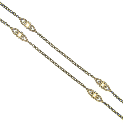 Lumineer Necklace with Yellow Gold and Champagne Diamond Stations in Black Rhodium