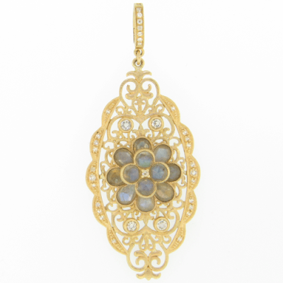 Beautiful Yellow Gold Scroll Pendant with Labradorite Flower