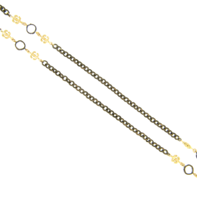 """38"""" Black Rhodium and Yellow Gold Necklace with Open Halo Stations and Gold Fleur de Lis."""