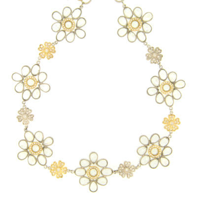 """18"""" Classic Gerber Necklace with Moonstone Bursts and Diamond Flower Stations"""