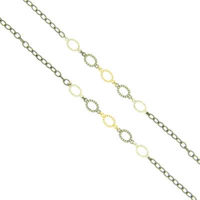 "34"" Five Oval Rings in Yellow Gold, Black Rhodium and White Rhodium Silver with White Aqua Details on a Black Rhodium Chain."