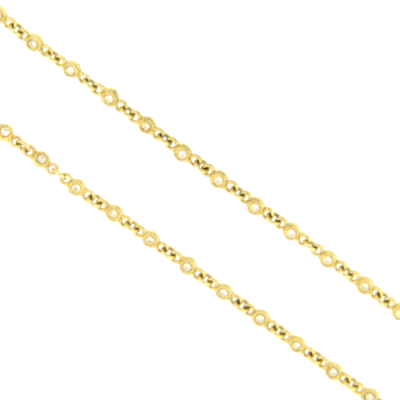 "30"" Classic Yellow Gold and Diamond Necklace with Repeat Petite White Diamonds."