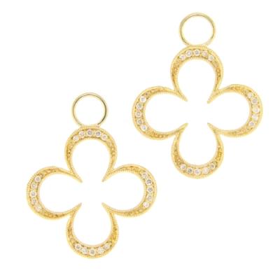 Open Clover Diamond Frame Earring Charms