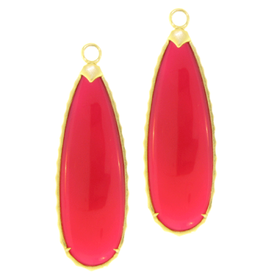 Large Fushia Chalcedony Teardrops with Yellow Gold Bezel Detail