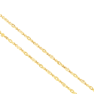 "32"" Classic Yellow Gold and White Diamond In-in-Out Necklace"
