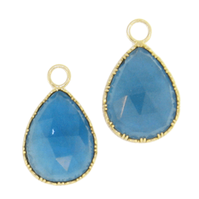 Large London Blue Pear Drop Earring Charms in Yellow Gold