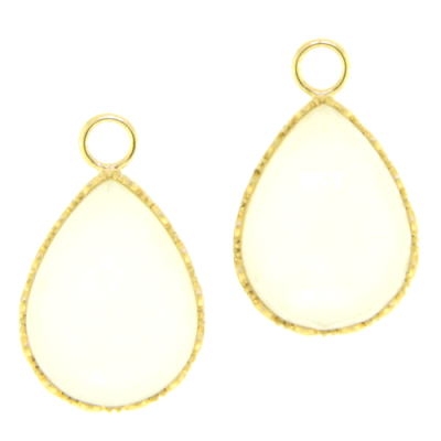 Large Doublet Pear Drop Earring Charms in Yellow Gold