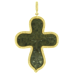 Closeup image for View White Aqua Bezel Old Believer Male Cross By Cynthia Ann Jewels