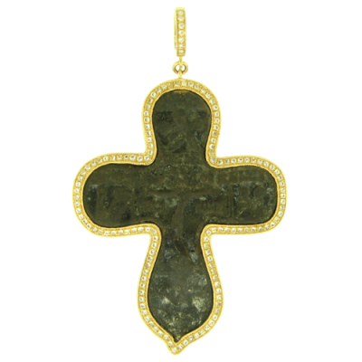 Ancient Bronze Neck Cross Surrounded by a Yellow Gold and White Aqua Bezel.