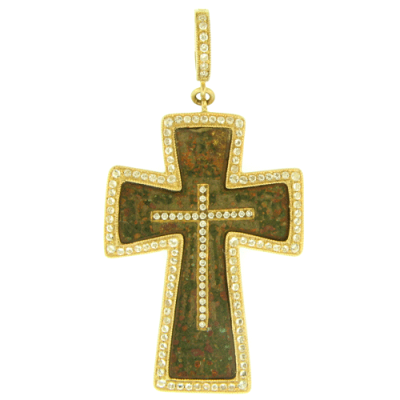Ancient Old Believer Male Cross Enhanced with a Diamond Inlay Cross, Surrounded by a Yellow Gold and White Aqua Bezel.