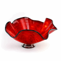 Alternate image 1 for Blood Red Glass Bowl By Blown Glass