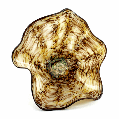 """Natural Brown, Cream, and Green Blown Glass Bowl. SIZE SMALL. 14"""" Diameter 6"""" Height."""