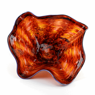 """Shades of Autumn and Orange Blown Glass Bowl. SIZE SMALL. 14"""" Diameter 6"""" Height."""