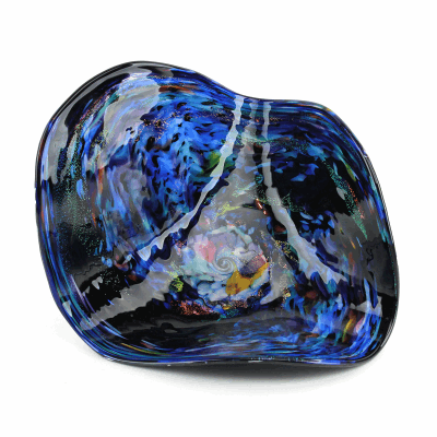 """Blown Glass, Blue and Black Multi-Colored Flat Bowl. SIZE EXTRA SMALL. 12"""" Diameter 5"""" Height."""